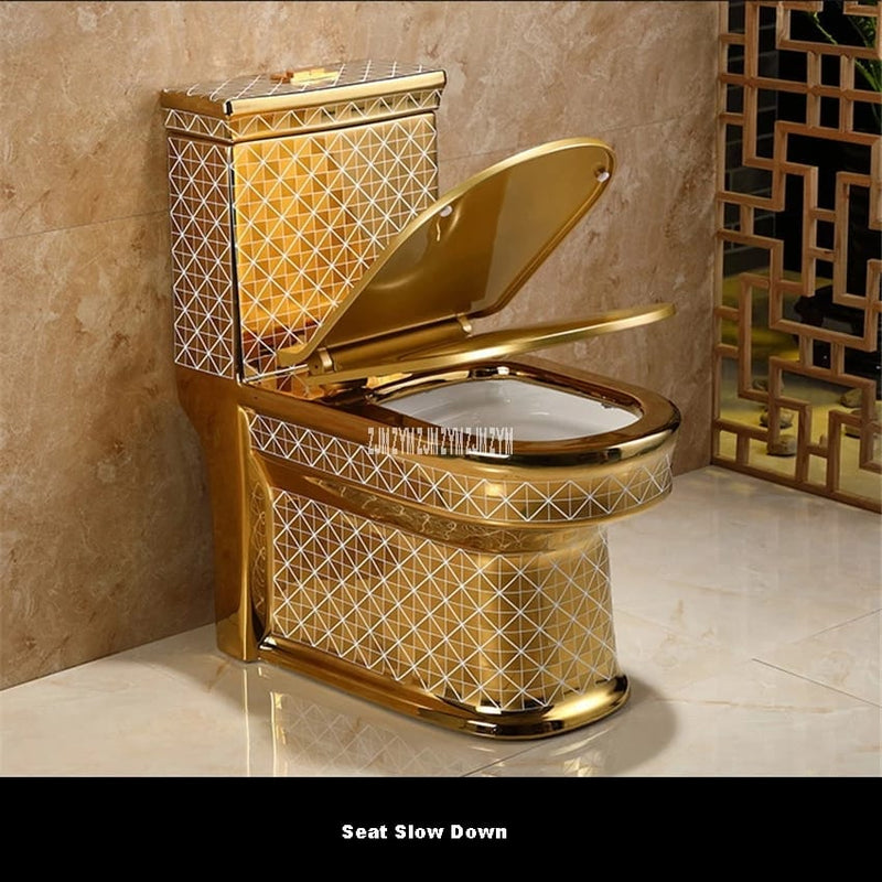 Gold Geometric Toilet Bowl