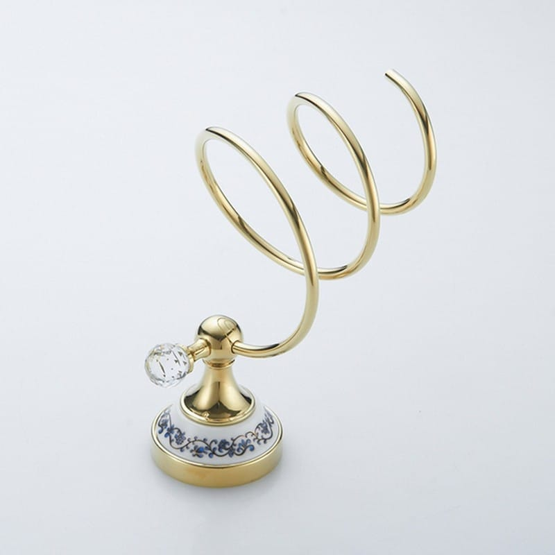 Gold Ceramic Design Hair Dryer Holder