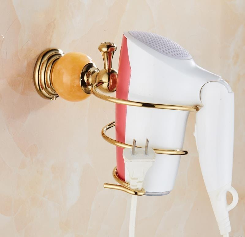 Gold Plain Hair Dryer Holder