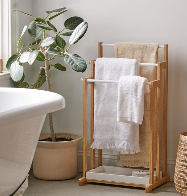 Modern Bamboo Towel Holder