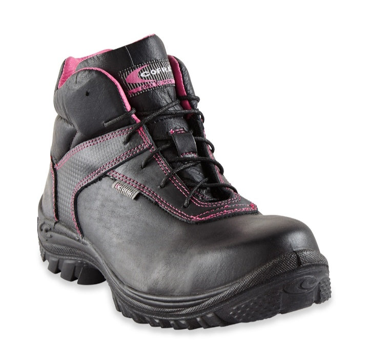 Ladies Pink Stitching Safety Boots