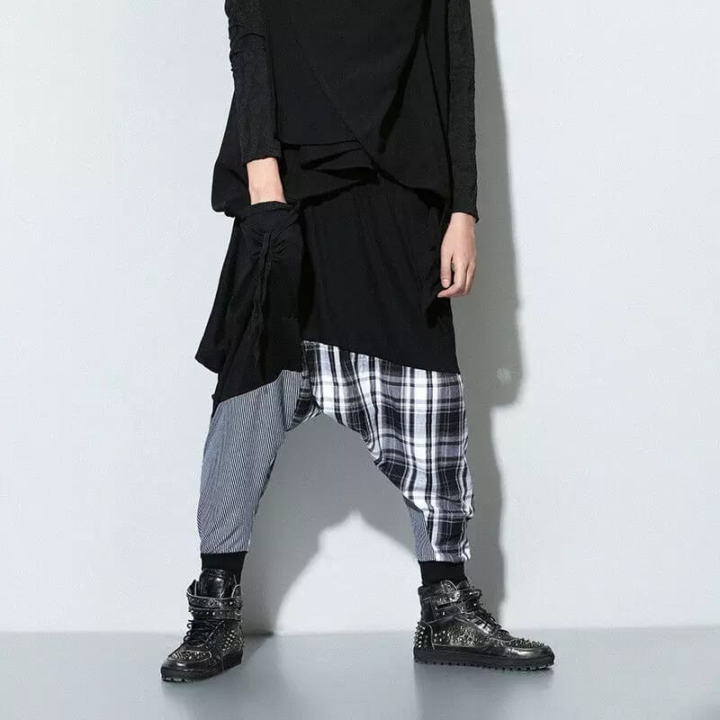 Men Checkered Harem Pants
