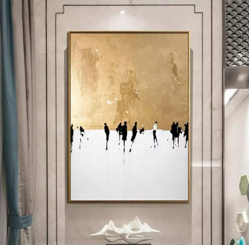Gold and White Modern Canvas