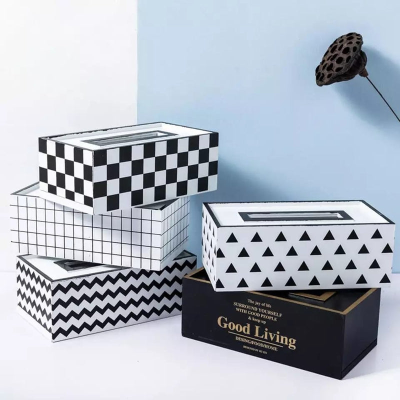 Luxury Black and White Tissue Holder