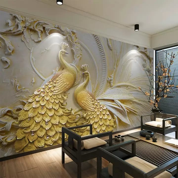 Peacock Gold Design Wall Sticker