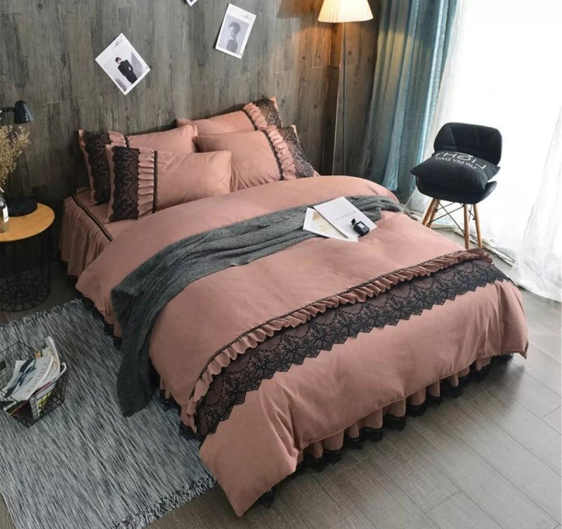 Brown Lace Bedsheet Set