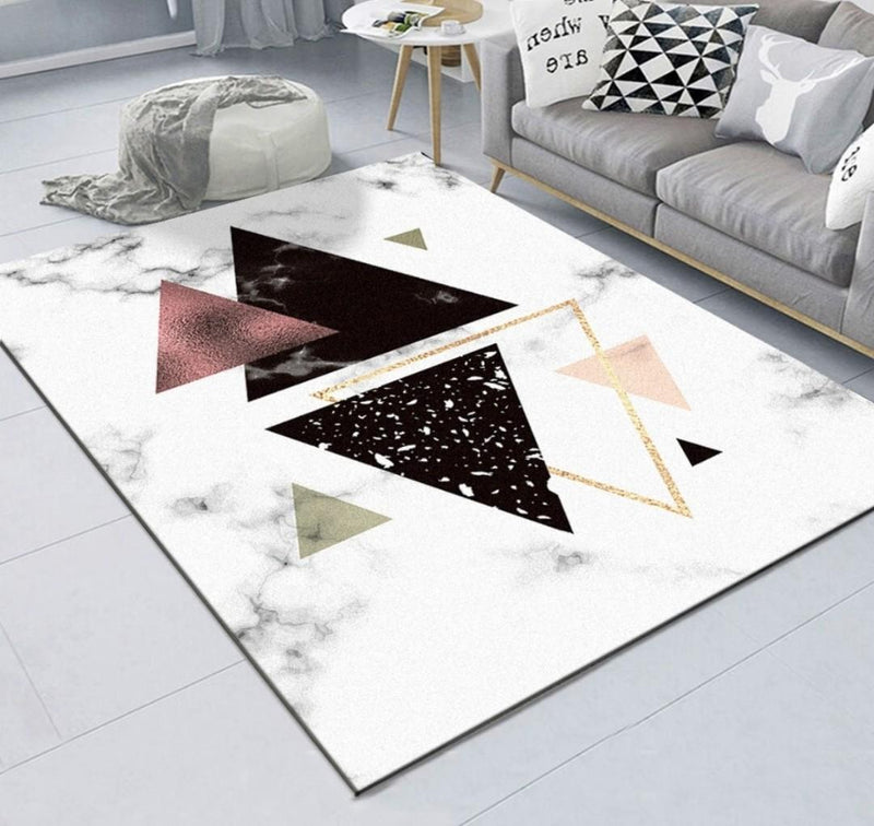 White Triangle Geometric Carpet