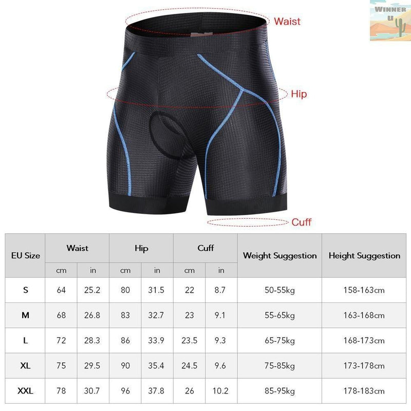 Cycling Gel Padded Shorts Blue