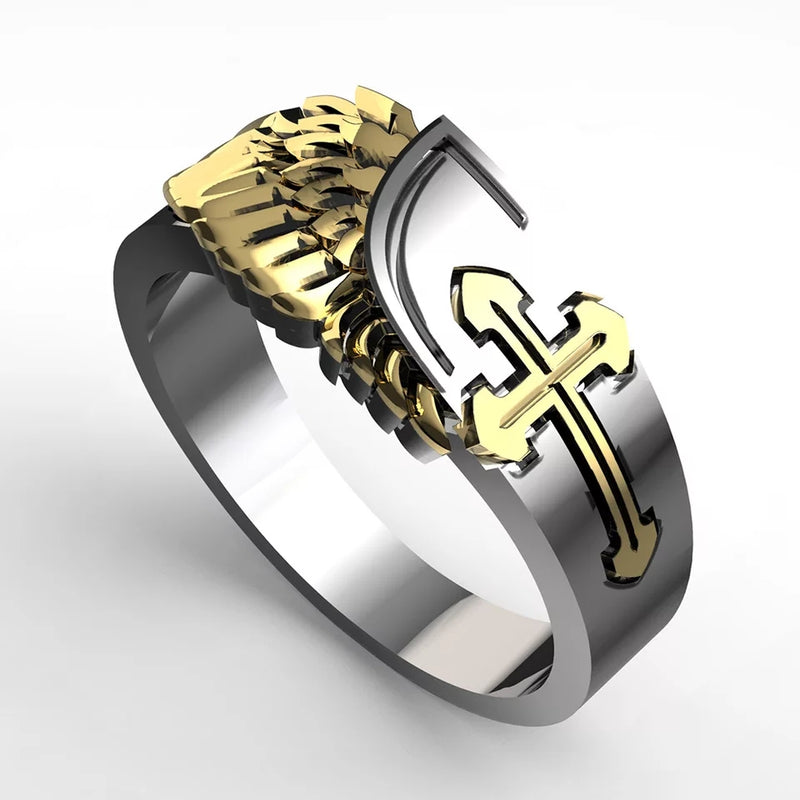 Men Cross And Wing Christ Ring