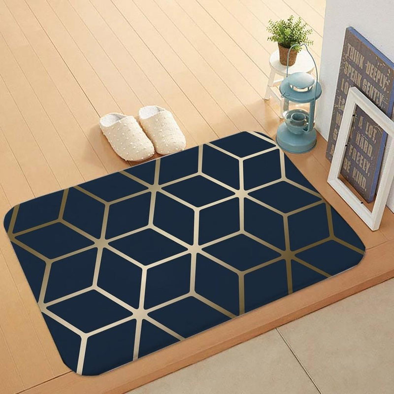 Blue And Gold Geometric Floor Mat