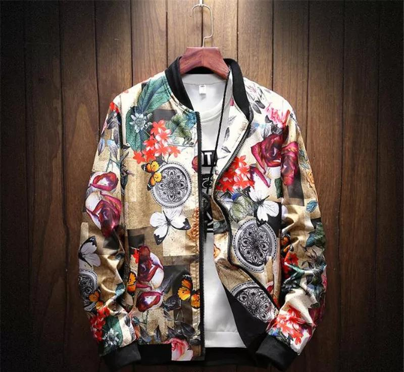 Men Flower Bomber Jacket