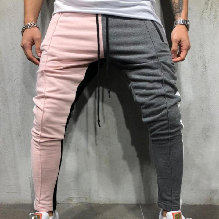 Men Pink And Grey Pants