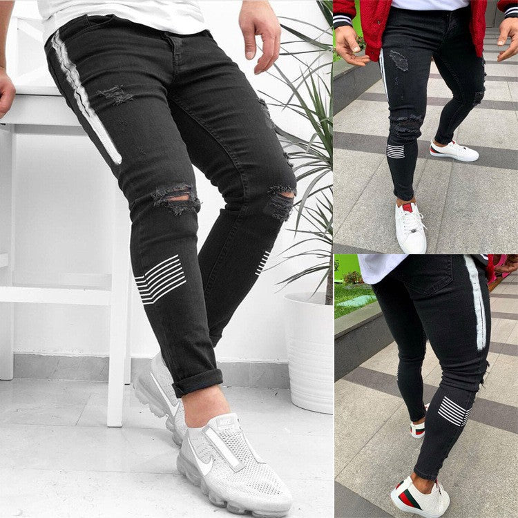 Men Black And White Jeans