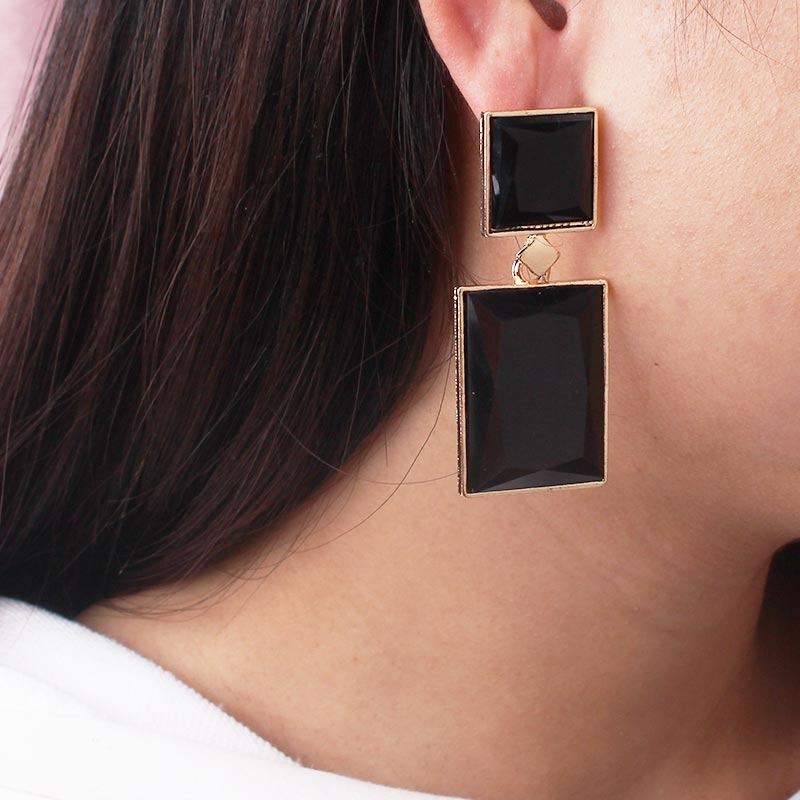 Black Gold Color Square Drop Earrings