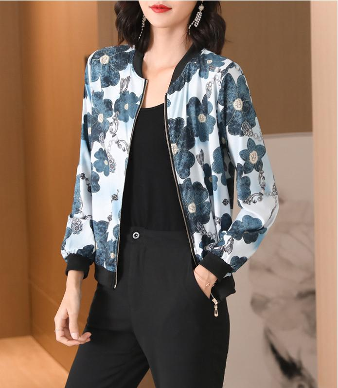 Women Blue Flower Jacket