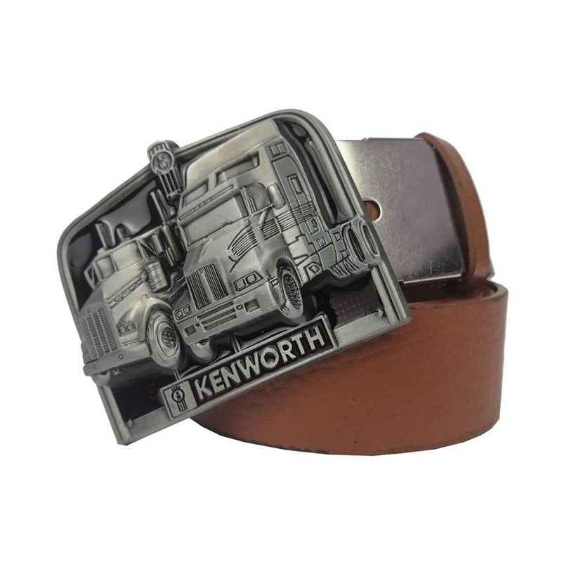 Men Brown Truck Buckle Belt