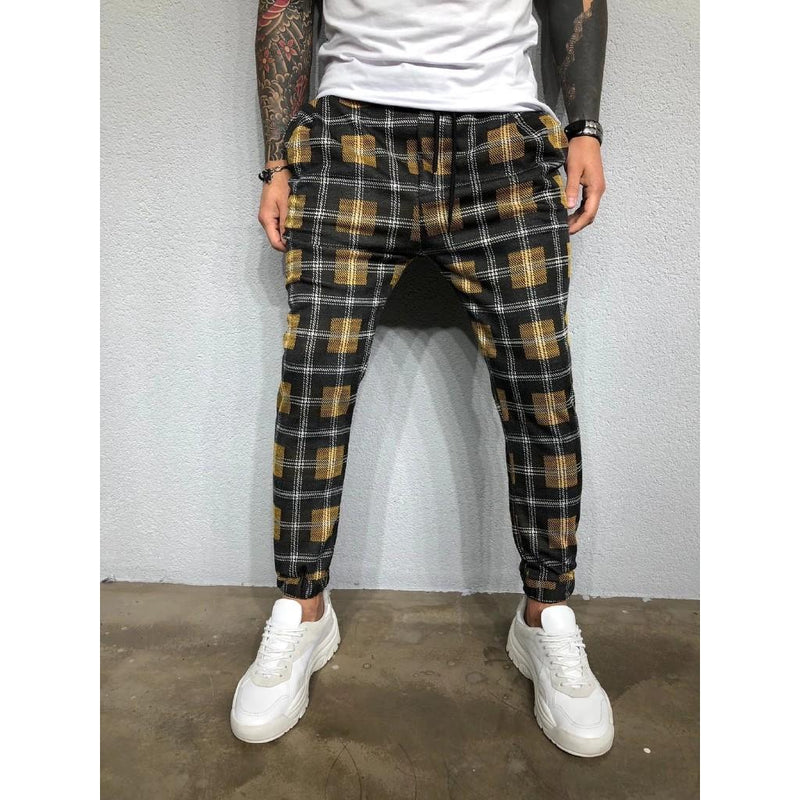 Men Fashion Checkered Pants