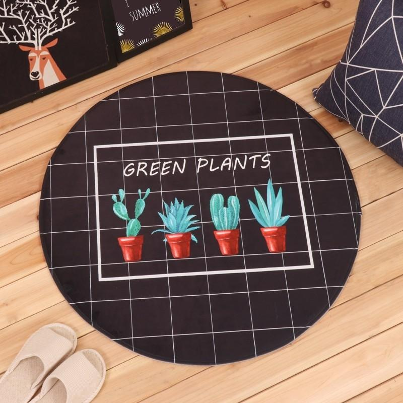 Cute Plants Round Carpet