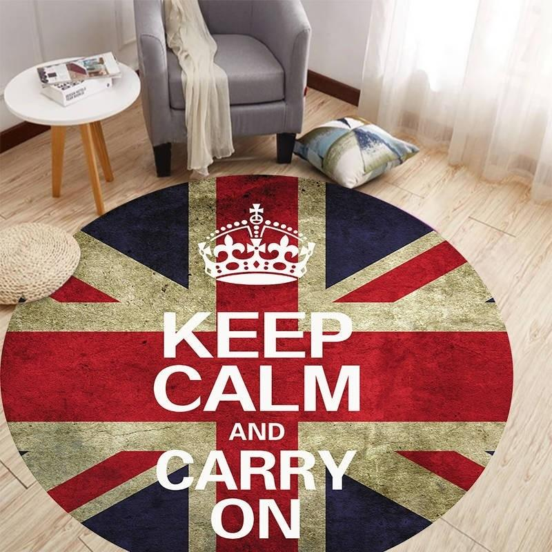 Keep Calm And Carry On Round Carpet