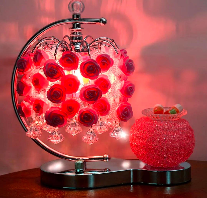 Red Table Lamp With Candle Holder