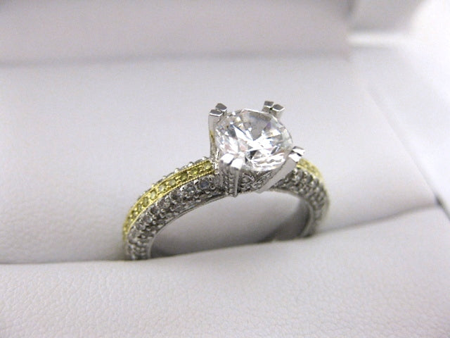 A1684 - 18 Karat White and Yellow Gold Simon G. Engagement Ring