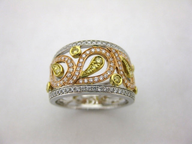 C1902 - 18 Karat White, Yellow, and Rose Gold Simon G. Dinner Ring