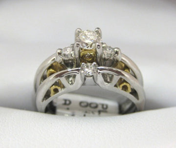 A1056, B967 - Platinum and 22 Karat Yellow Gold Engagement Ring