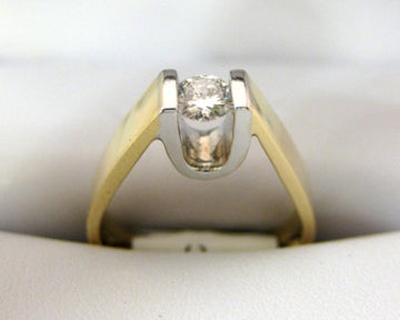 A1082 - 14 Karat White and Yellow Gold Engagement Ring