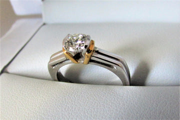 A1345 - 18 Karat White and Yellow Gold Engagement Ring