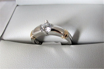 A1528 - Platinum and 18 Karat Yellow Gold Engagement Ring