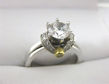 A1685, B1144 - 18 Karat White Gold Simon G. Engagement Ring and Band