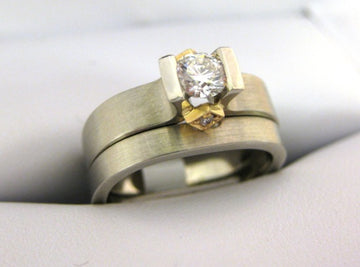 A1851, B1204 - 14 Karat White and Yellow Gold Engagement Ring and Band