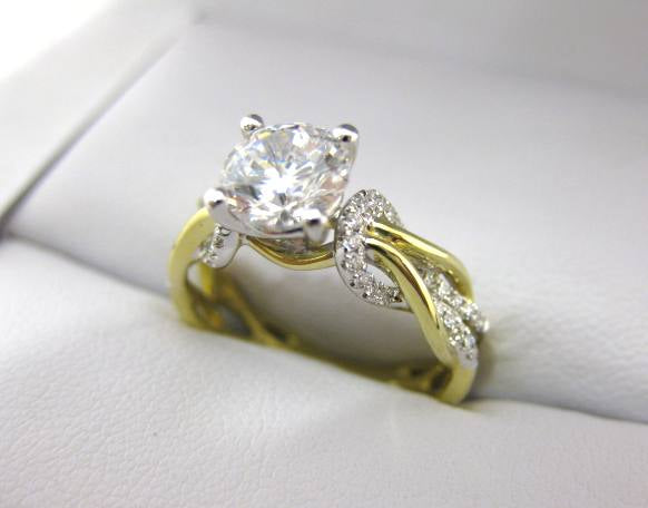 A2551 - 18 Karat White and Yellow Gold Simon G. Engagement Ring