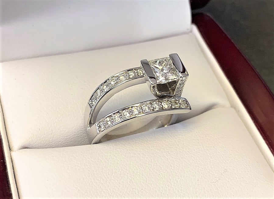 A2804 - 14 Karat White Gold Custom Engagement Ring