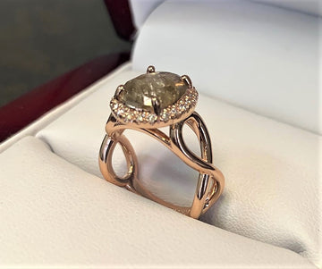 A2813 - 14 Karat Rose Gold Custom Engagement Ring
