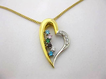 API3777 - Yellow and White Gold Family Pendant