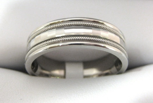 White Gold Men's Wedding Band D017
