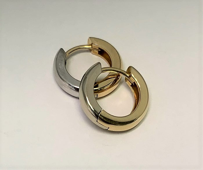 J8491 - 14 Karat White and Yellow Gold Hoop Earrings