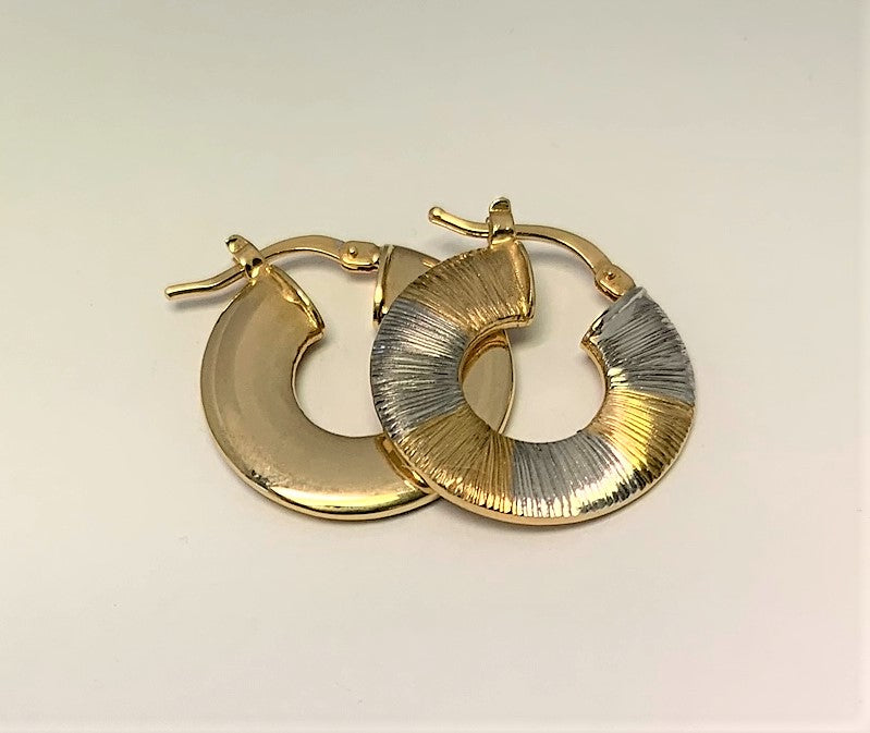 J8526 - 14 Karat White and Yellow Gold Hoop Earrings