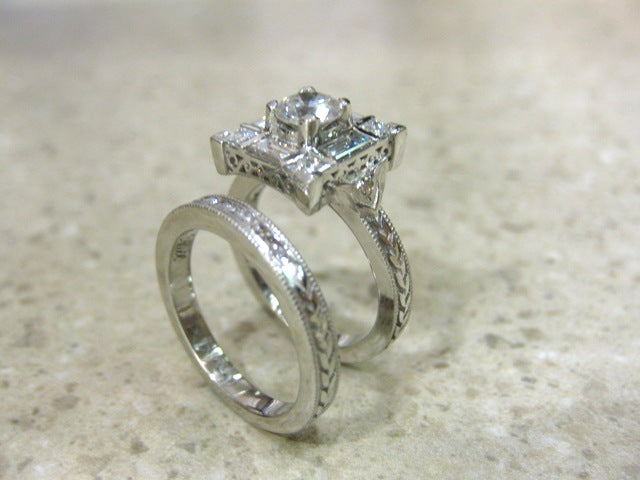 TA6901 - Platinum Custom Engagement Ring and Band