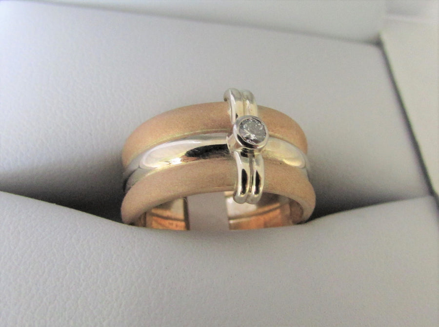 TC6026 - 14 Karat White and Yellow Gold Custom Ring
