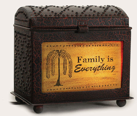 Inspirational Wax Warmer - Family Is Everything - Crackle Black/Rd