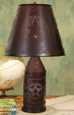Large Punched Star Paul Revere Lamp - Crackle Black/Red