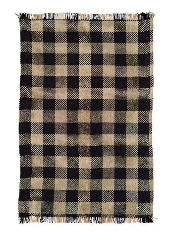 Burlap Black Check Place Mats
