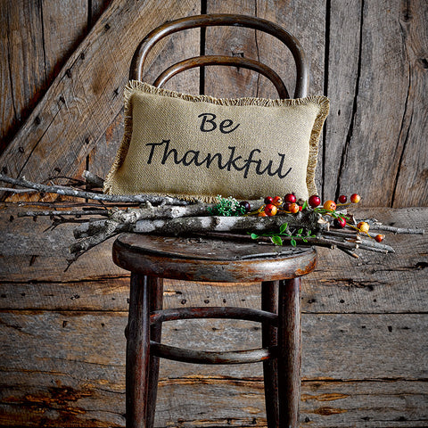 Giving Thanks Burlap Pillow