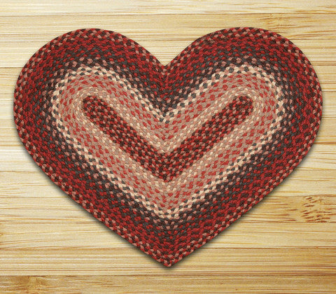 Burgundy Heart Braided Jute Rug