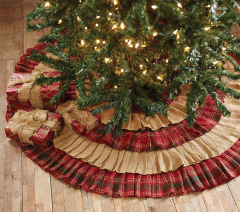 Burlap and Red Plaid Tree Skirt