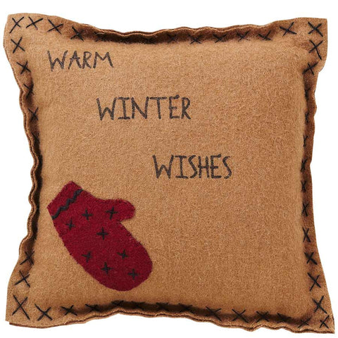 Warm Winter Wishes Felt Pillow