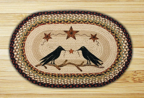 Crows and Stars Braided Oval Rug