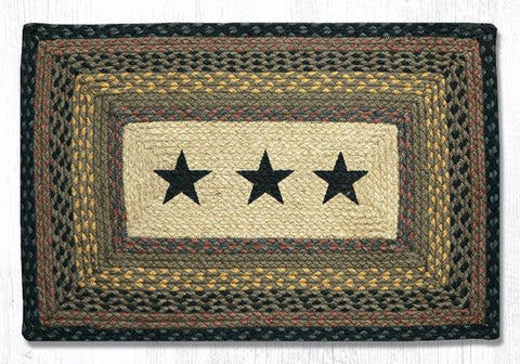 Black Stars Print Braided Rug